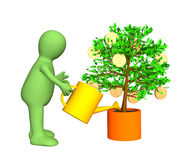 3d gardener, watering gold-bearing tree. 3d gardener, watering a tree with growing gold coins. Objects over white Stock Photo