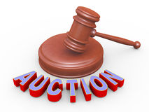 3d gavel and auction Stock Photos
