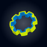 3D gear. With green and blue layers Royalty Free Stock Images
