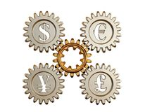 3D. Gear and currency symbols Stock Photo