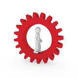 3d gear red human Stock Photo