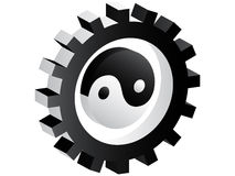 3d gear with ying and yang inside. Isolated on white background Royalty Free Illustration