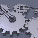 3D Gears. A 3D scene with gears & pulleys vector illustration