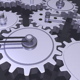 3D Gears. Chrome gears and belts on a dark grey background Stock Photo