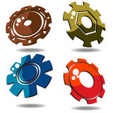 3d gears. Gear icons over white background in various colors Royalty Free Stock Image