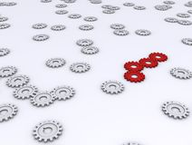 3d gears. Red ones working together and standing out Stock Images
