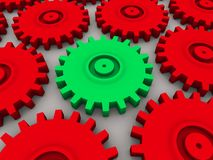 3d gears. 3d rendered illustration of one green and some red metal gears Royalty Free Stock Photography