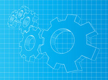 3D gears. Blueprint background with 3D gears. Solution, teamwork, technology royalty free illustration