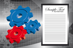 3d gears background. Blue and red 3d gears over silver with wave background. vector stock illustration