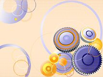 3d gears background. Blue and orange gears composition stock illustration