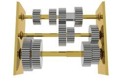 3d gears framfört goldern Vektor Illustrationer