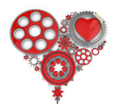 3d gears and heart Royalty Free Stock Photos