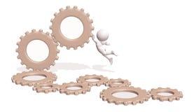 3d gears maskinmannen Royaltyfri Illustrationer