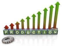 3d gears produktiontext stock illustrationer
