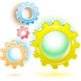 3d gears symboler Royaltyfri Illustrationer