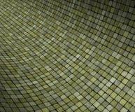 3d gebogen groene oppervlakte van het grungemozaïek Royalty-vrije Stock Foto