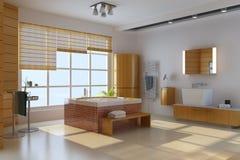 3d geef binnenland van moderne badkamers terug Stock Fotografie