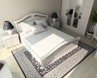 3D geef klassiek binnenland van slaapkamer terug Royalty-vrije Stock Fotografie