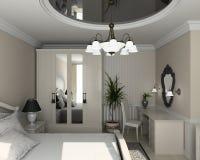 3D geef klassiek binnenland van slaapkamer terug Royalty-vrije Stock Afbeelding