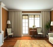 3D geef klassiek binnenland van woonkamer terug Royalty-vrije Stock Afbeelding