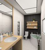 3D geef modern binnenland van badkamers terug Stock Fotografie
