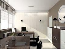 3D geef modern binnenland van bureau terug Royalty-vrije Stock Foto