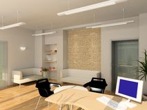 3D geef modern binnenland van bureau terug Stock Fotografie