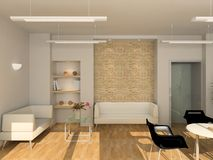 3D geef modern binnenland van bureau terug Royalty-vrije Stock Fotografie
