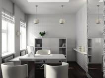 3D geef modern binnenland van bureau terug Stock Afbeeldingen