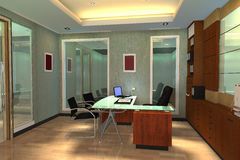 3d geef modern binnenland van de ruimte van het Bureau terug Stock Fotografie