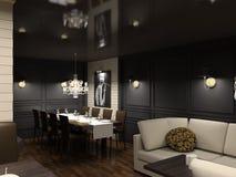 3D geef modern binnenland van eetkamer terug Stock Fotografie