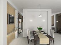 3D geef modern binnenland van eetkamer terug stock afbeelding