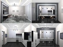 3D geef modern binnenland van keuken terug Stock Fotografie