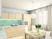 3D geef modern binnenland van keuken terug Royalty-vrije Stock Foto's