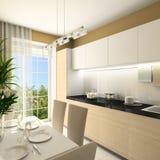 3D geef modern binnenland van keuken terug Stock Afbeelding