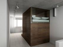 3D geef modern binnenland van slaapkamer terug Royalty-vrije Stock Foto