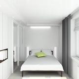 3D geef modern binnenland van slaapkamer terug Stock Foto