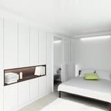 3D geef modern binnenland van slaapkamer terug Stock Afbeeldingen