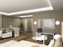 3D geef modern binnenland van slaapkamer terug Royalty-vrije Stock Afbeelding
