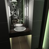 3D geef modern binnenland van toilet terug Stock Fotografie