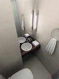 3D geef modern binnenland van toilet terug stock illustratie
