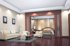 3d geef modern binnenland van woonkamer, slaapkamer terug Stock Foto's