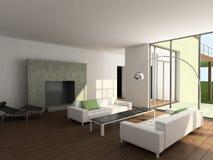 3D geef modern binnenland van woonkamer terug Stock Fotografie