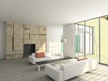 3D geef modern binnenland van woonkamer terug Royalty-vrije Stock Foto