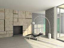 3D geef modern binnenland van woonkamer terug Stock Afbeelding