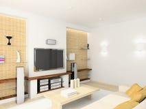 3D geef modern binnenland van woonkamer terug Royalty-vrije Stock Foto's