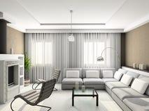 3D geef modern binnenland van woonkamer terug Royalty-vrije Stock Fotografie