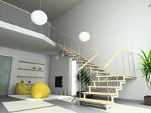 3D geef modern binnenland van woonkamer terug Stock Foto's