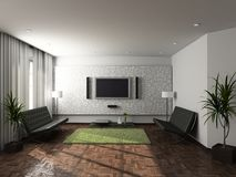 3D geef modern binnenland van woonkamer terug Stock Afbeeldingen
