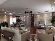 3d geef modern binnenland van woonkamer terug stock illustratie